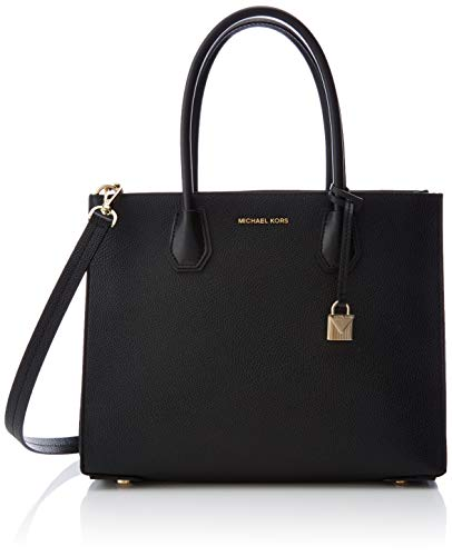 Michael Kors Damen Mercer Large Pebbled Leather Accordion Tote Schwarz (Black), 14x24.8x31.7 cm