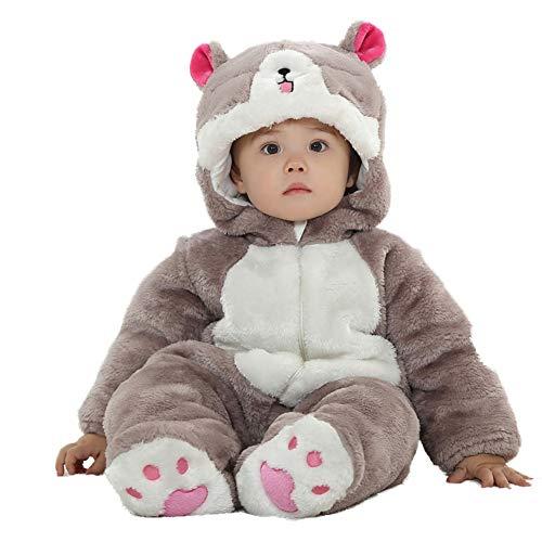 LSERVER Unisex-Baby Schlafanzug Tier Pyjama Jumpsuits Tierkostüm, Süße Katze, 18/24 Monate(100)