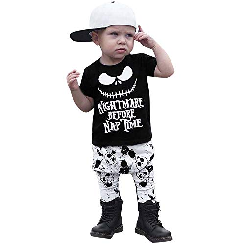 Simayixx Kinder Halloween Kostüme und Kinder Langarm Halloween Cartoon Brief Kostüm Glockenärmel Strampler Jumpsuit t Shirt 2pc Set Fasching Party Karneval Party