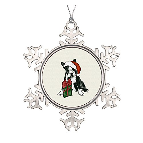 Boston Terrier Weihnachten Keramik rund Weihnachten Ornament (Tree Western Topper)