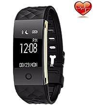 Actividad Tracker, detome S2Monitor podómetro calorías seguimiento banda de pulsera de fitness Rastreador Deportes pulsera inteligente bluetooth para hombres mujeres niños niñas Android y iOS (negro)