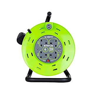 Status 13 A 4 Socket Cable Reel with Thermal Out,Green,20 metres