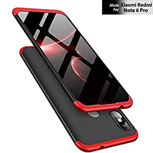 TheGiftKart Full Body 3 in 1 Slim Fit 360 Degree Protection Hard Bumper Back Case Cover for Xiaomi Redmi Note 6 Pro (Red Black) (Limited Period Offer)