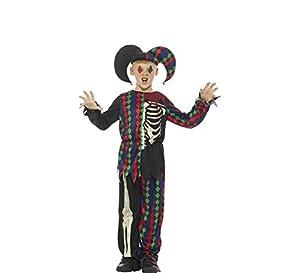 Smiffys Disfraz de Esqueleto bufón,, Parte de Arriba, pantalón y Gorro