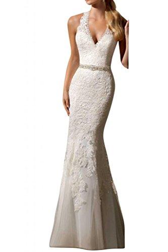 Gorgeous Bride Traumhaft Meerjungfrau Lang Spitze Tuell Perlen Brautkleider Hochzeitskleider -34 Elfenbein