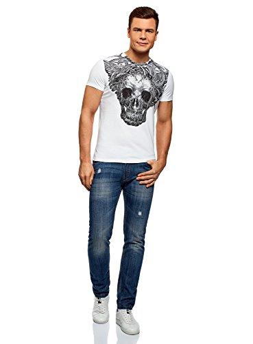 oodji Ultra Hombre Camiseta de Algodón con Estampado Calavera, Blanco, ES 52-54 / L