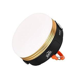 HiHiLL Lanterne Camping Mini Eclairage de Tente avec Sortie USB, 200 Lumens, Rechargeable, Etanche, 3W, 3 Modes Lumière Blanc Chaud, Suspendue Magnétique, Lampe Extérieure (LT-CL1)