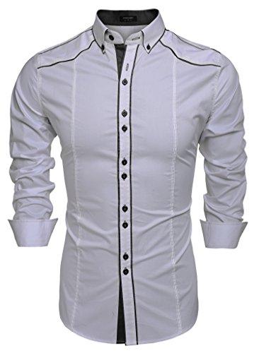 Coofandy camicie uomini casual cotone manica lunga colletto dritto button down argento s