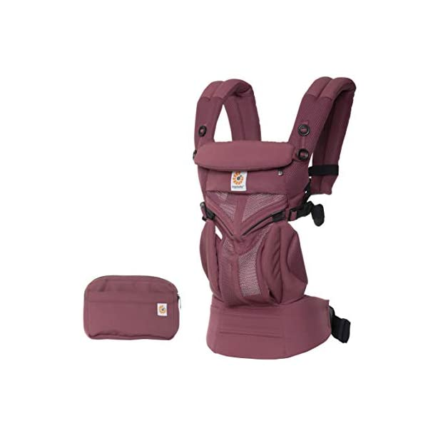 Ergobaby Baby Carrier for Newborn to Toddler, 4-Position Omni 360 Cool Air Plum, Breathable Ergonomic Child Carrier & Backpack Ergobaby BABY CARRIER FOR NEWBORN - Adapts to your growing baby from birth to toddler (7-45lbs). 4 carry positions: front-inward, back, hip, and front-outward. A Baby hood for sun protection (UPF 50+) & privacy for sleeping or breastfeeding is included. COMFORT - Exceptional lower back comfort with padded lumbar support waist belt & extra padded shoulder straps with the option to wear 2 ways: crossed or backpack style. Waist belt can be worn high or low to maximize comfort. COOL & BREATHABLE - Our Cool Air Mesh baby carriers are made with soft and durable mesh fabric that provides our renowned ergonomic support for baby while allowing for ultimate breathability and airflow 1