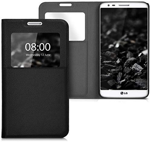 kwmobile Hülle für LG G2 - Bookstyle Case Handy Schutzhülle mit Sichtfenster - Klapphülle Schwarz