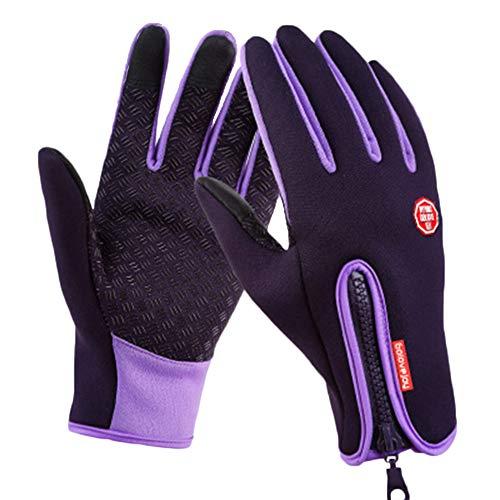 PengGengA Unisex Satin Rutschfest Schlank Reißverschluss Touchscreen Handschuhe Trainingshandschuhe Sport Rutschfest B02 Lila 1 S