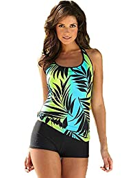 18feb38c79 Women's Swimsuit Tankini Shorts + Sling Top Printed Beachwear Swimming  Costume