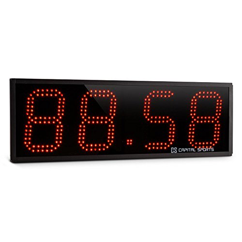 Capital Sports Timeter Sporttimer Tabata Stoppuhr Digital-Anzeige mit Fernbedienung und Möglichkeit zur Wandmontage (4 Ziffern, Signalton, 10cm große LED-Ziffern) Schwarz