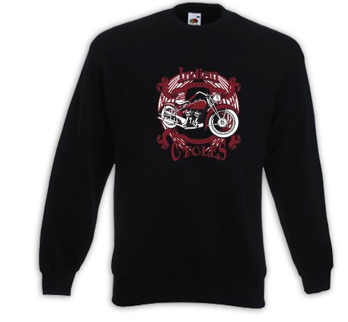 Biker Pullover Indian Rot Motorcycle Bike Racing USA Custom Tattoo Schwarz