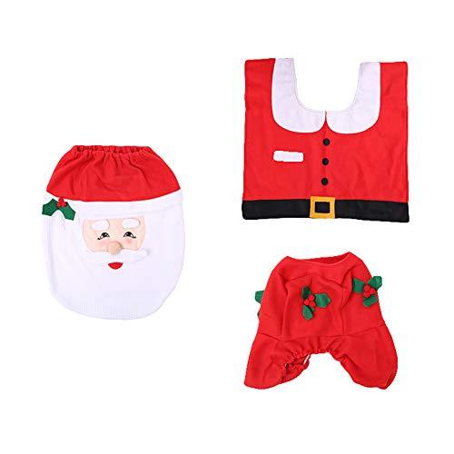 Siridescentzb decorazioni natalizie, copri-vasca da bagno con set di tappeti a forma di scatola santa claus