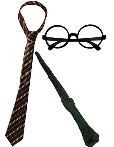 Set accessori costume da mago cravatta da scuola + occhiali da mago rotondi + bacchetta magica di plastica