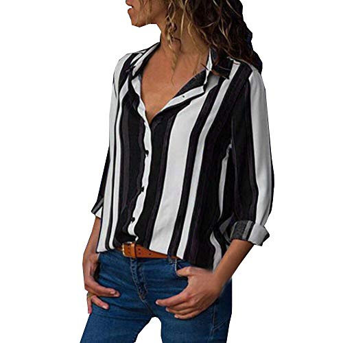 MRULIC Damen Shirt Tie-Bow Neck Striped Langarm Spleiß Bluse Gestreift Damen Tragen(V7-Schwarz,EU-42/CN-XL) Striped Bow Tie