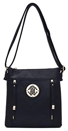 Big Handbag Shop due tasche frontali con Zip lunga Pulls Messenger Cross Body Bag Black (KL136)