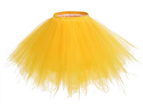 (bridesmay Tutu Damenrock Tüllrock 50er Kurz Ballet Tanzkleid Unterkleid Cosplay Crinoline Petticoat für Rockabilly Kleid Dark Yellow XL)