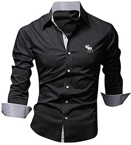 jeansian Herren Freizeit Hemden Shirt Tops Mode Langarmlig Men's Casual Dress Slim Fit Z029 8558_Black