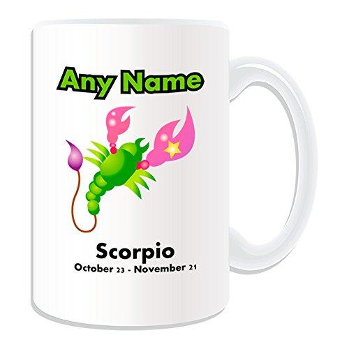 Regalo personalizzato-Tazza grande Scorpione Zodiaco (, motivo design, colore: bianco, qualsiasi nome/Messaggio sul tuo unico, astrologia segno simbolo segno zodiacale Scorpione ottobre 23novembre, 21