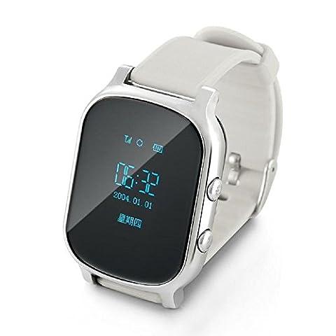 Leydee Smart Watch Baby GPS + LBS + WiFi Tracker Localisateur Personnel Enfant Bracelet GSM Tracking Device Appel Gratuit Web Realtime Track SOS Enfants Sécurité Locator Horloge Smartwatch pour iOS Android , silver