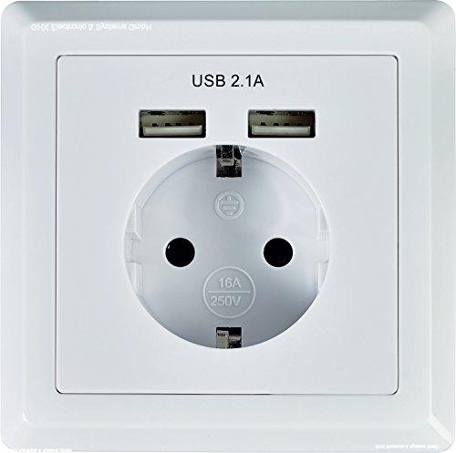 Schuko Enchufe con 2x USB Puerto de carga (Max. 2.1A) Color Blanco