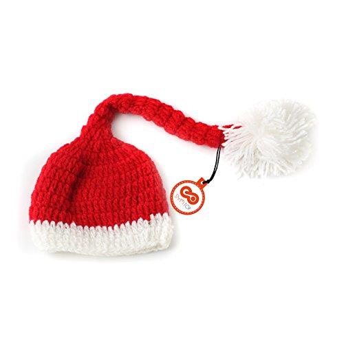 Weihnachtsmütze Weihnachten Hut Häkeln Stricken Kostüm für 0- 3 Monate Neugeborene Baby Jungen Mädchen Kostüm Fotografie Requisiten (Santa Mütze) (Neuheit Weihnachtsmützen Kostüm)