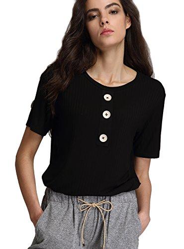 Escalier Femmes T-Shirt Basique en Coton Col rond Manches Courtes Boutonné Blouse Tops Noir