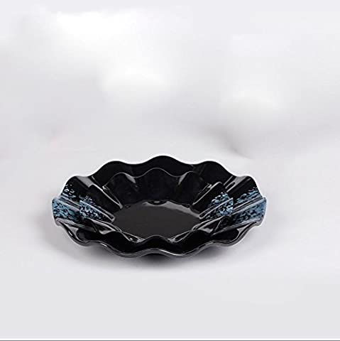 Blue Diamond Black ceramic simulating corrugated Lacy Lotus Leaf discs cuisine cutlery dish dishes dinner plates ,