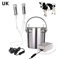 winnerruby 5.5L Electric Milking Machine Portable Stainless Steel Cattle Cow Milking Machine Vacuum Sheep Goat Milker for Home Small-scalefarm