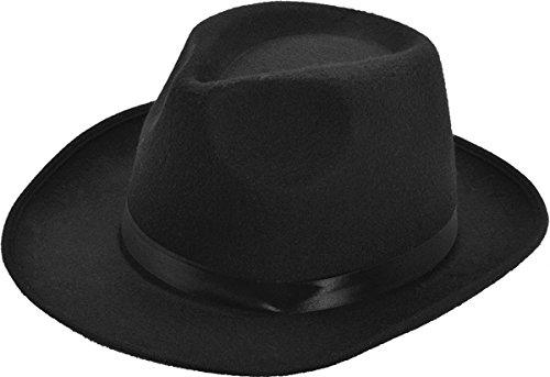 Herren 1920er Godfather Verkleidung Kostümparty Felt Wolle Pimp Gangster Hut Schwarz