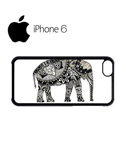 Elephant Drawing Ethnic Pattern Art Swag Mobile Phone Case Back Cover for iPhone 6 Black Blanc
