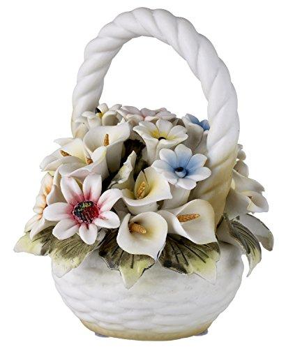 5th Ave Store Capodimonte Toskana Collection Korb Bouquet mit Farbigen Rosen und Blumen