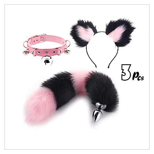 Paar Lustige Kostüm Besten Am - Fun Black & Pink Flauschigen Fuchsschwanz + Kurze Plüschohren Haarnadel Stirnband + Kragen Glocke Halskette Frauen Party Liebe Geschenk Kostüm Set (L)