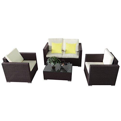 MCTECH® Poly Rattan Gartengarnitur Sitzgruppe Sofa Garnitur Polyrattan Gartenmöbel Essgruppe inkl. Glas und Sitzkissen (Type C Braun)