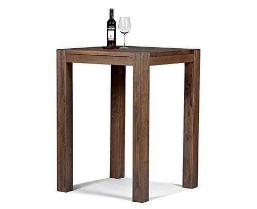 Bartisch + 2 Barhocker, Hochtisch, Bistrotisch, Stehtisch Rio Bonito 80x80cm, Pinie Massivholz, geölt und gewachst, Tisch/Hocker Farbton Cognac braun