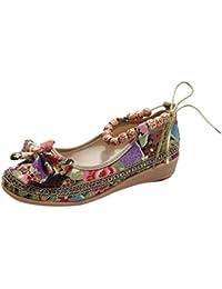 Frauen Folk-Custom Schuhe @ Mode Bestickt @Perlen-Dekor @ Knöchel Perlen @ Flache @ Beiläufig @ Vintage-Stil @ Einzelne Schuhe (EU:39, Schwarz) Igemy
