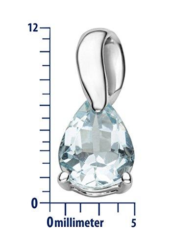 Miore - Collier avec Pendentif - Or Blanc 9 cts - 45 cm Aquamarine