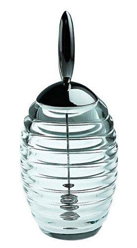 Alessi Tw01 Honey Pot Doseur à Miel en Verre Cristallin avec Couvercle en Acier Brillant