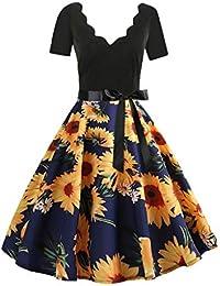 573c9f735942 Donna Primavera Senza Maniche Moda Slim Stampa Vintage Flare Dress