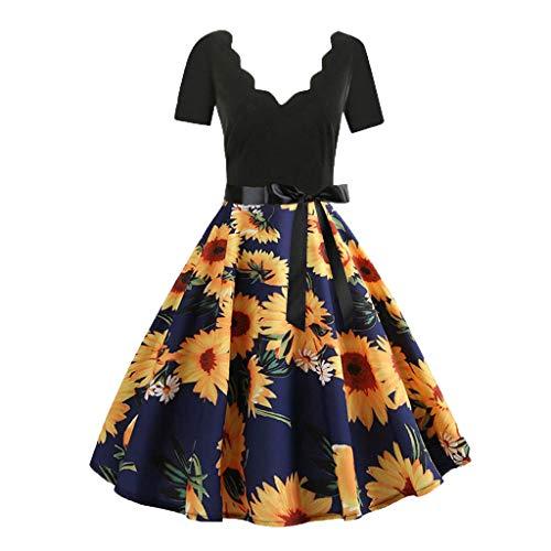 Damen elegant 50er Jahre Petticoat Kleider Drucken Abendkleider Rockabilly Kleider Cocktailkleider...