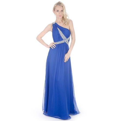 SEXYHER Damen Atemberaubende Eine Schulter Perlen Abendkleid Abendkleid - EDK12149 Blau