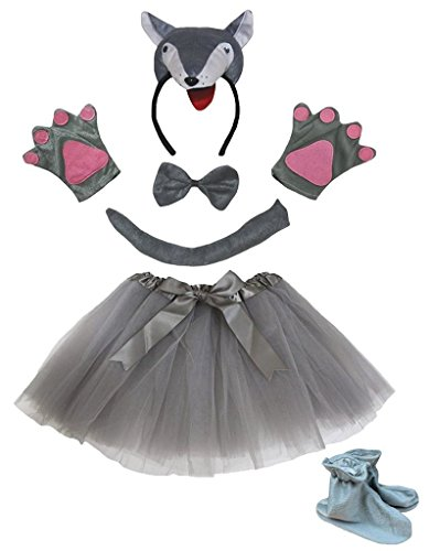 Gray Wolf Kostüm - Petitebelle 3D-Stirnband Bowtie Schwanz Handschuhe Rock Schuhe 6pc Mädchen-Kostüm Einheitsgröße 3D Gray Wolf