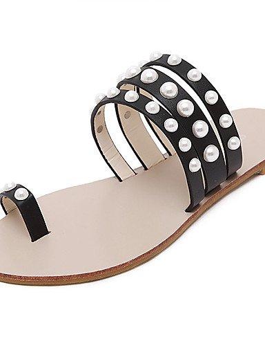 LFNLYX Scarpe Donna-Sandali-Formale-Plateau / Toe ring-Piatto-Finta pelle-Nero / Bianco Black