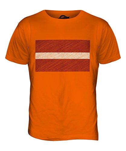 CandyMix Lettland Kritzelte Flagge Herren T Shirt Orange