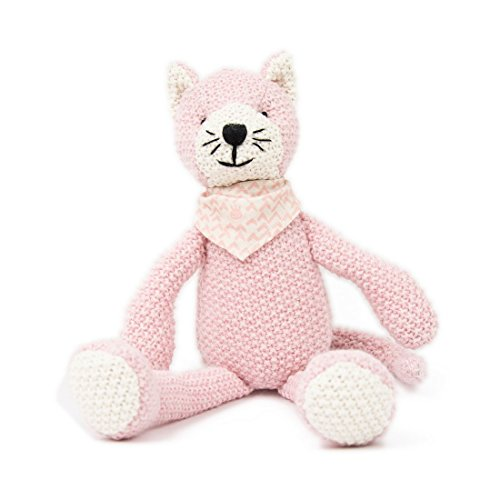 boogetoo - Weegoamigo-Katze- Gestrickte Figur - Schmusetiere Kuscheltiere Schlenkertiere, 28cm, Rosa