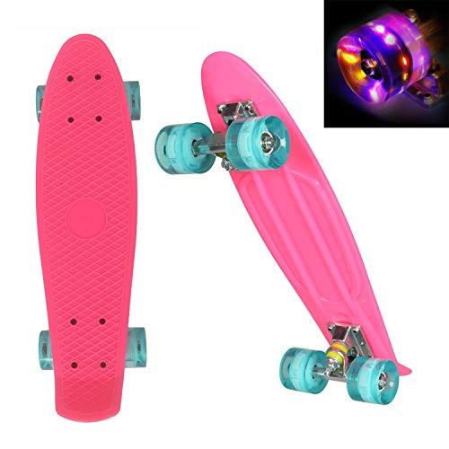 WeSkate 55cm Cruiser Skateboard Komplett Mini Vintage Skate Board mit LED Leuchtrollen für Kinder Erwachsene