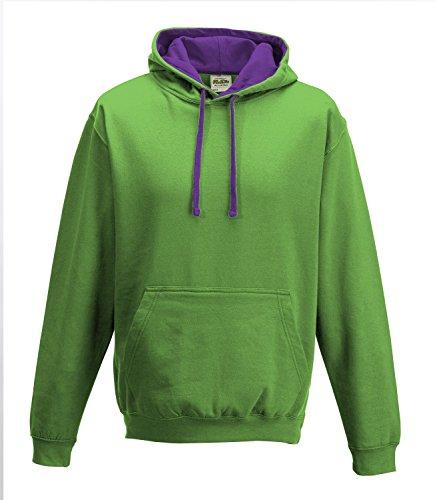 JH003 Varsity Hoodie Kapuzenpullover Sweatshirt Kapuzensweatshirt XXL,Lime Green-Magenta Magic - Männer Green Lime Hoodie