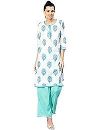 [Sponsored]Jaipur Kurti Women White & Turquoise Ethnic Motifs Straight Cotton Kurta With Palazzo